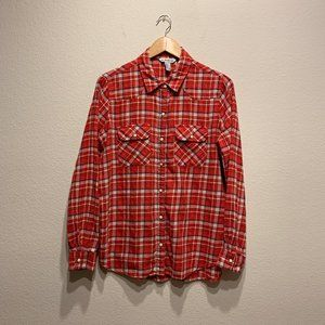 Forever 21 Red Plaid Flannel Pearl Snap Shirt